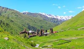 Scène pittoresque et magnifique Basculez la tour dans Ushguli - le plus haut village habité en Europe Photos libres de droits