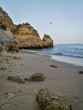 Scène Portugal de plage de Lagos Photographie stock libre de droits