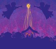 Scène religieuse de nativité de Noël illustration libre de droits