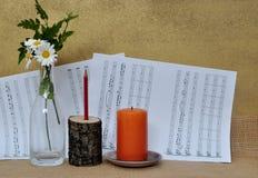 Scène romantique avec la musique de feuille Image libre de droits