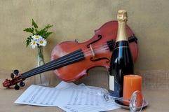 Scène romantique avec le violon, musique de feuille Photos libres de droits