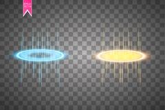 Scène ronde de nuit de rayons de lueur de bleu et d'or avec des étincelles sur le fond transparent Montrez la partie Étape de fai Image libre de droits