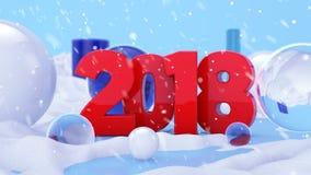 2018 scène rouge du paysage 3D d'hiver Photo libre de droits