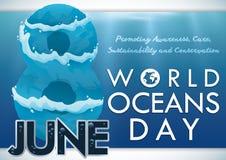 Scène sous-marine calme avec la date de rappel pour la célébration de jour d'océans, illustration de vecteur illustration libre de droits