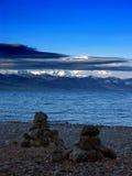 Scène sur le lac Namsto, Thibet image libre de droits