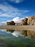 Scène sur le lac Namsto, Thibet Photos libres de droits