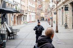Scène surveilling d'attaque terroriste de police après attaque Strasbour images stock