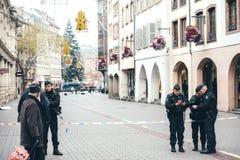 Scène surveilling d'attaque terroriste de police après attaque Strasbour images libres de droits