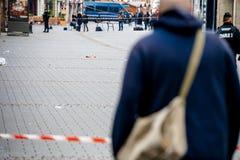 Scène surveilling d'attaque terroriste de police après attaque Strasbour photos libres de droits