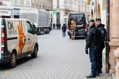 Scène surveilling d'attaque terroriste de police après attaque Strasbour image libre de droits
