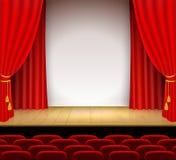 Scène théâtrale avec le blanc un support et un rideau rouge Photographie stock