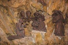 Scène traditionnelle de nativité de Noël dans le monastère de St Francis de Greccio, Latium, Italie images libres de droits
