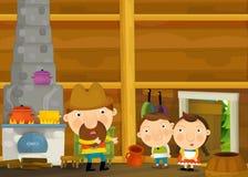 Scène traditionnelle heureuse et drôle de bande dessinée avec la famille dans la vieille maison Photographie stock