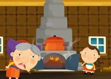 Scène traditionnelle heureuse et drôle de bande dessinée avec la jeune fille et la grand-mère Photo libre de droits