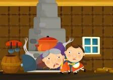 Scène traditionnelle heureuse et drôle de bande dessinée avec la jeune fille et la grand-mère Photos stock