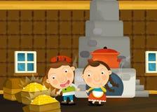 Scène traditionnelle heureuse et drôle de bande dessinée avec la jeune fille et le garçon dans la cuisine Images libres de droits