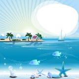 Scène tropicale avec l'endroit sous-marin de la vie et des textes Photographie stock libre de droits