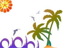 Scène tropicale avec les ondes surfantes illustration libre de droits
