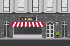 Scène urbaine avec l'illustration plate de conception de bâtiment de magasin Photos stock