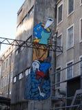 Scène urbaine prospère d'art de graffiti et de rue à Lisbonne, Portugal, 2014 Photos libres de droits