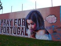 Scène urbaine prospère d'art de graffiti et de rue à Lisbonne, Portugal, 2014 Photographie stock libre de droits