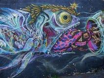 Scène urbaine prospère d'art de graffiti et de rue à Lisbonne, Portugal, 2014 Image stock