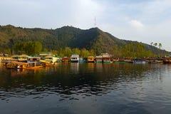 Scène van Dal meer in Srinagar, kapitaal van Jammu en Kashmir, Ind. royalty-vrije stock afbeelding
