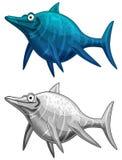 Scène van de beeldverhaaldinosaurus - de onderwater en landdinosaurussen Stock Foto's