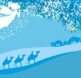 Scène van de Kerstmis de godsdienstige geboorte van Christus vector illustratie