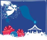 Scène van de Kerstmis de godsdienstige geboorte van Christus stock illustratie