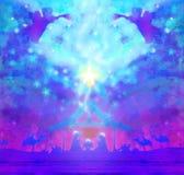 Scène van de Kerstmis de godsdienstige geboorte van Christus met engelen vector illustratie
