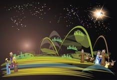 Scène 3 van de Kerstmisgeboorte van christus koningen Stock Foto's