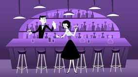 Scène van de midden van de eeuw de Moderne Retro Bar stock illustratie