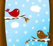 Scène van de Winter van het Paar van de Vogel van Kerstmis de Rode Hoofd Royalty-vrije Stock Afbeelding