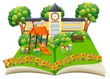 Scène van kinderen die in het schoolplein pop omhooggaande boek spelen stock illustratie