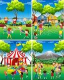 Scène vier van kinderen die in het park spelen royalty-vrije illustratie