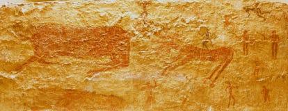 Scènes de chasse des peintures néolithiques de Catalhoyuk Images libres de droits