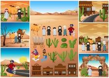Scènes de désert avec des personnes et des bâtiments Image libre de droits