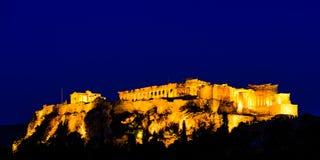 Scènes de nuit d'Acropole et de parthenon Photographie stock libre de droits