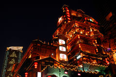 Scènes de nuit de caverne de Chongqing Hongya Image stock