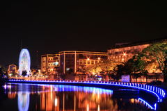 Scènes de nuit de fleuve de Melaka Image stock