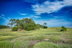 Scènes de plage d'île de chasse Image libre de droits