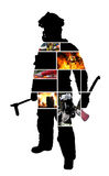 Scènes de sapeur-pompier avec une silhouette d'un sapeur-pompier de pose illustration de vecteur