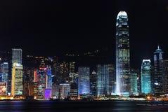 Scènes du centre de nuit de ville de Hong Kong Photos libres de droits