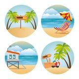 Scènes réglées de Miami Beach Illustration Libre de Droits
