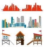 Scènes réglées de paysage urbain de Miami Beach illustration de vecteur