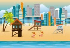 Scènes réglées de paysage urbain de Miami Beach illustration stock