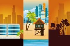 Scènes réglées de paysage urbain de Miami Beach illustration libre de droits
