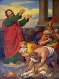 Scènes van het leven van St Paul: Boekt en de Rollen worden gebrand Royalty-vrije Stock Foto's