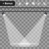 Scèneverlichting, transparante gevolgenachtergrond Stock Foto's